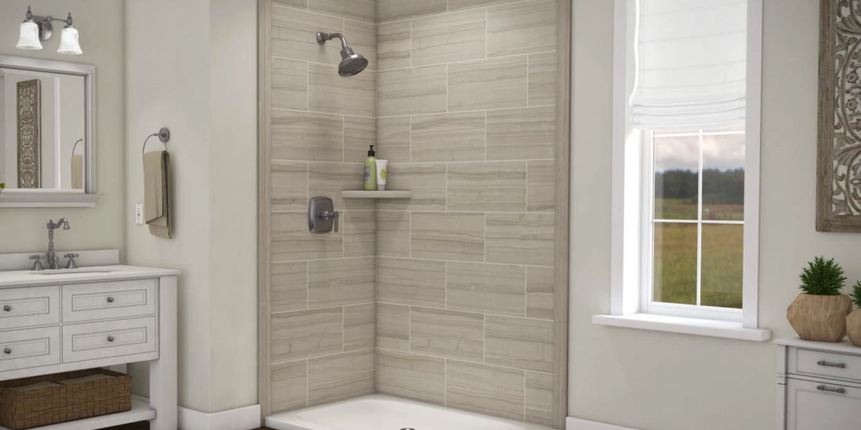 "Shower walls can be solid surface panels, or acrylic panels that ""look"" like tile, but have no grout"