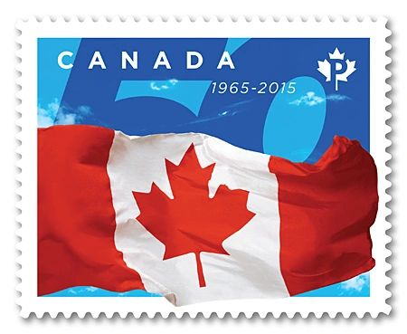 Canada Post stamp celebrating the 50th Anniversary of the Canadian Flag (2015)