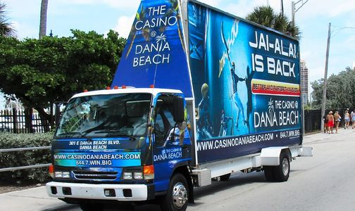 An example photo of mobile billboard outdoor advertising from National Mobile Billboards, LLC
