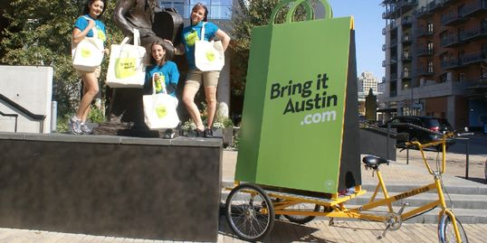 An example photo of mobile adbike outdoor advertising from National Mobile Billboards, LLC