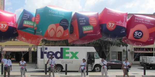 An example photo of aerial inflatable outdoor advertising from National Mobile Billboards, LLC