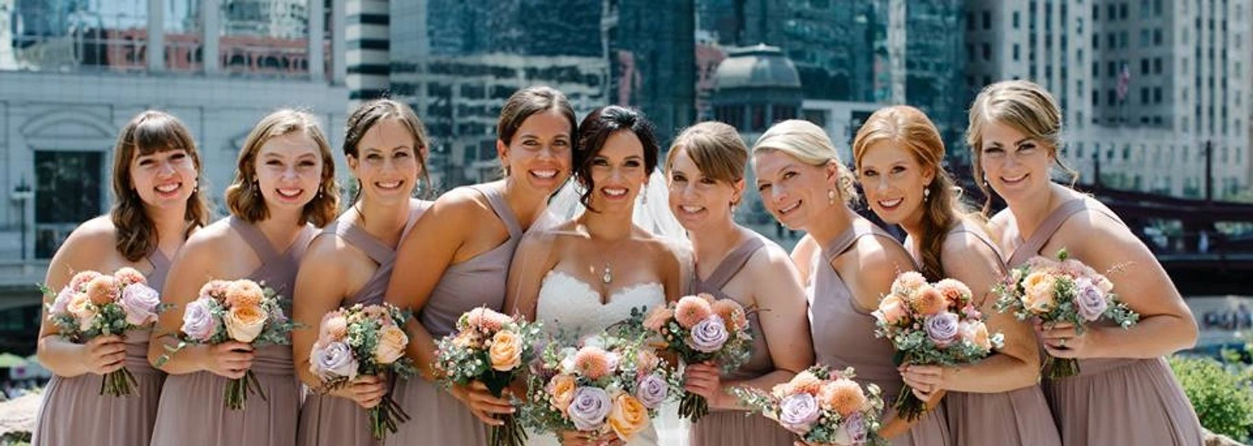 Chicago Wedding Party Picture with flowers