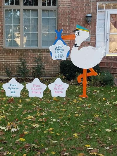 Large 6 foot Stork sign rental baby announcement in front yard with baby name and birth information and proud big sister and proud big brother signs.