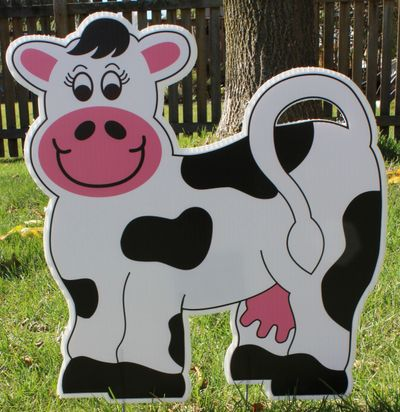 Yard sign display rental cow