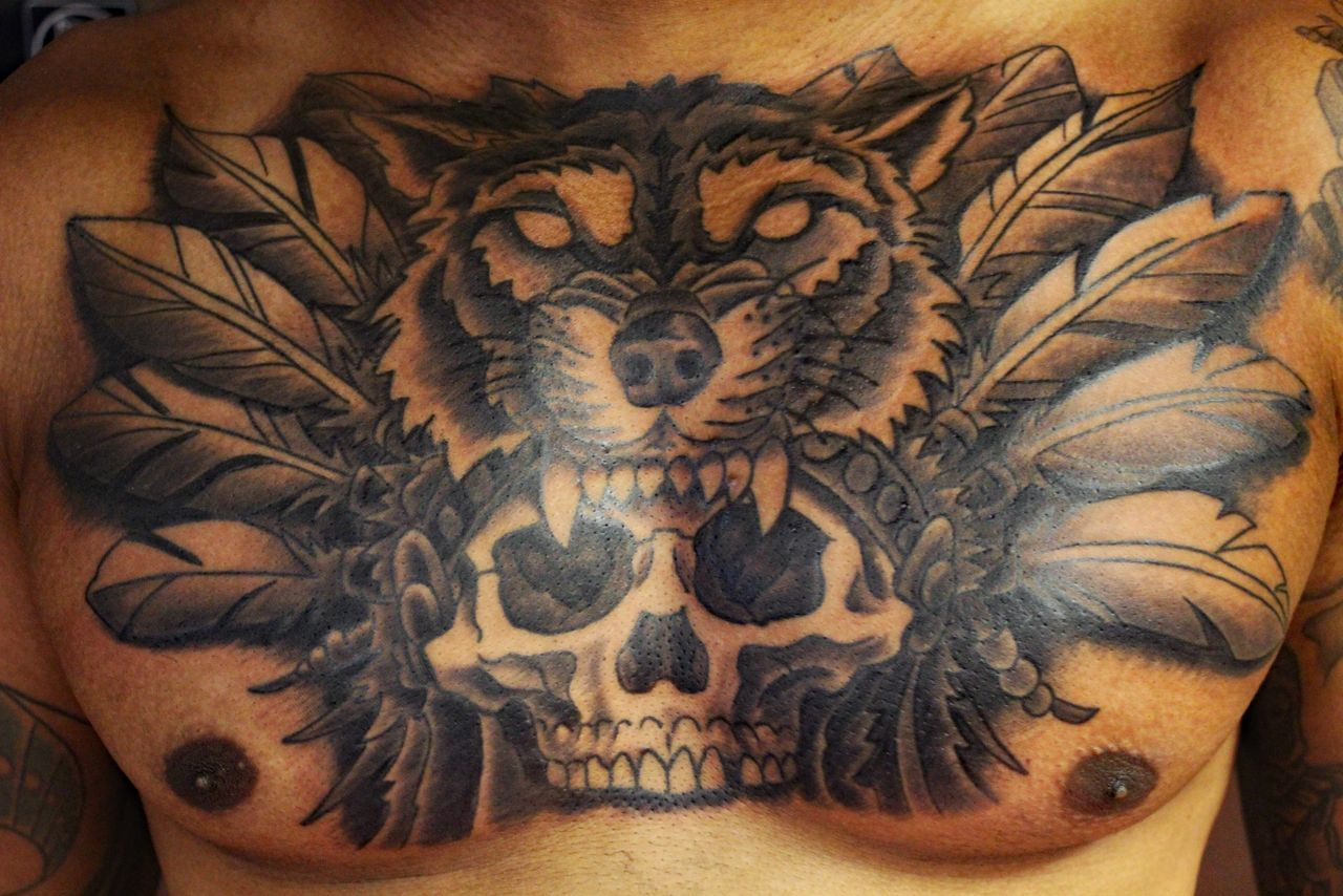 Skull With Wolf Headdress Tattoo By Richard Lamos