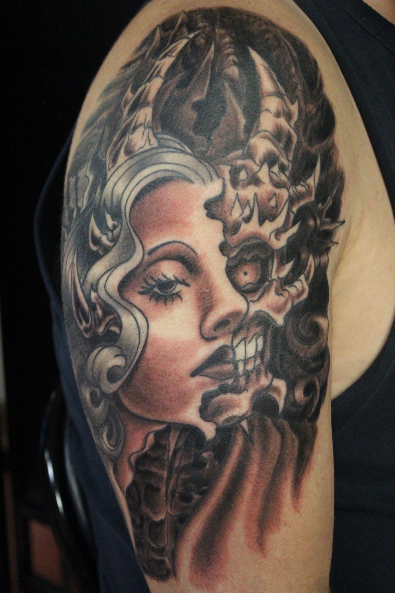 14da89c8bb800 Demon Woman Tattoo by Richard Lamos