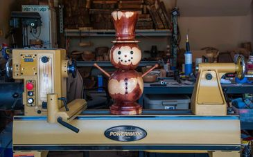 Wood Crafted Snowman on a lathe