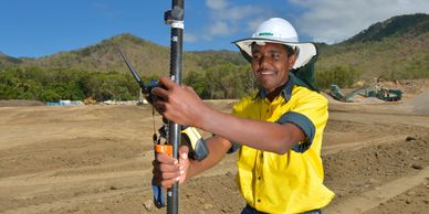 Photograph of Aboriginal man working on building site by Wayne Quilliam