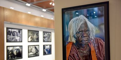 Photograph of Aboriginal photo Wayne Quilliams exhibitions in New York and Geneva