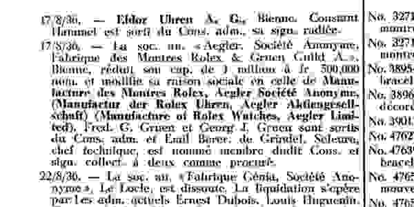 Aegler Rolex pays Gruen to end partnership, 1936