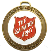The Salvation Army golf tournament bag tag giveaway   Antique gold partial color