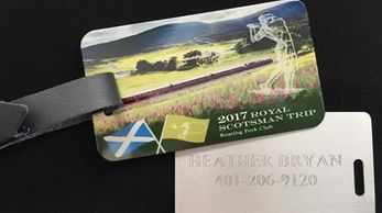 Roaring Fork Golf Club custom travel luggage tag for their Scotland golf trip