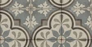 Gray blue, white and brown patterned ceramic tile squares.