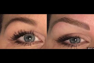 New and innovative semi-permanent makeup method used to create an entire natural looking brow.