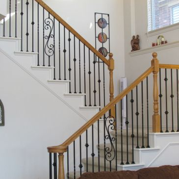 Satin black iron balusters