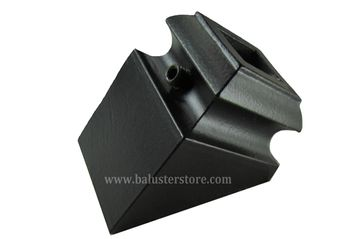 Angled shoe for iron balusters