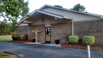 A view of the main entrance for Faith Wesleyan Church and Faith Care Children's Center.