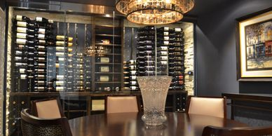 When mixing glass with wood and metal, you can invoke spectacular wine cellar combinations.