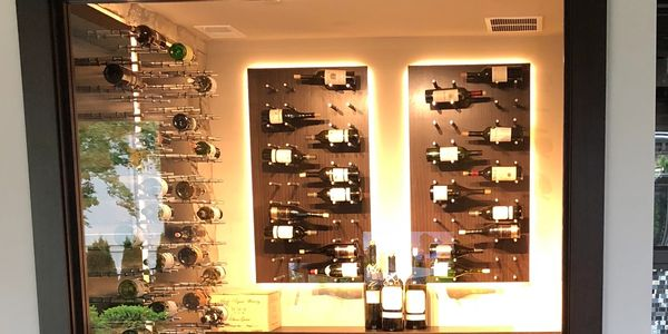Wood and metal wine cellar combination