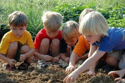 Digging in the soil is hands-on learning at its best.