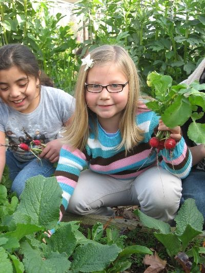 Learning healthy eating habits in the garden.