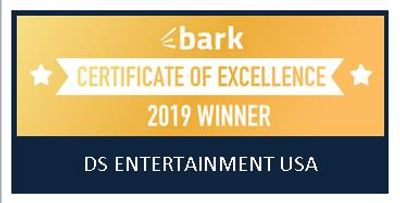 Bark.com's Certificate of Excellence for DS Entertainment USA