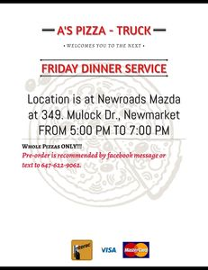 Every Friday (unless advertised otherwise) at NewRoads Mazda Dealership from 5:00pm - 7:00pm.