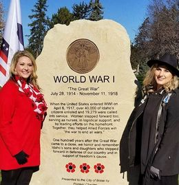 Pioneer Chapter Daughters Kathy Hilton (left) and Erin Taylor (right) stand at the new WWI Memorial.