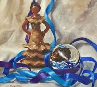 Statue and gazing ball  Artwork for sale by Diane Hutchinson