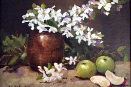 Apples and Blossoms. Oil painting 12X9""