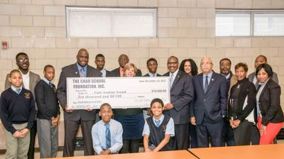 Chad presents $10,000 to Eagle Academy Newark
