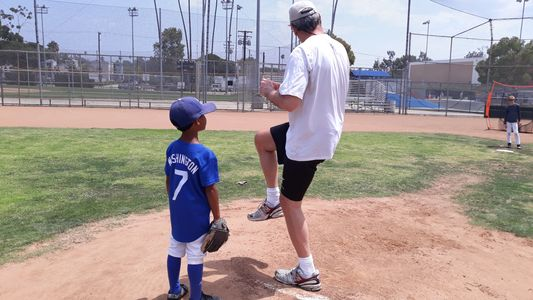 Pitching at santa monica baseball academy!