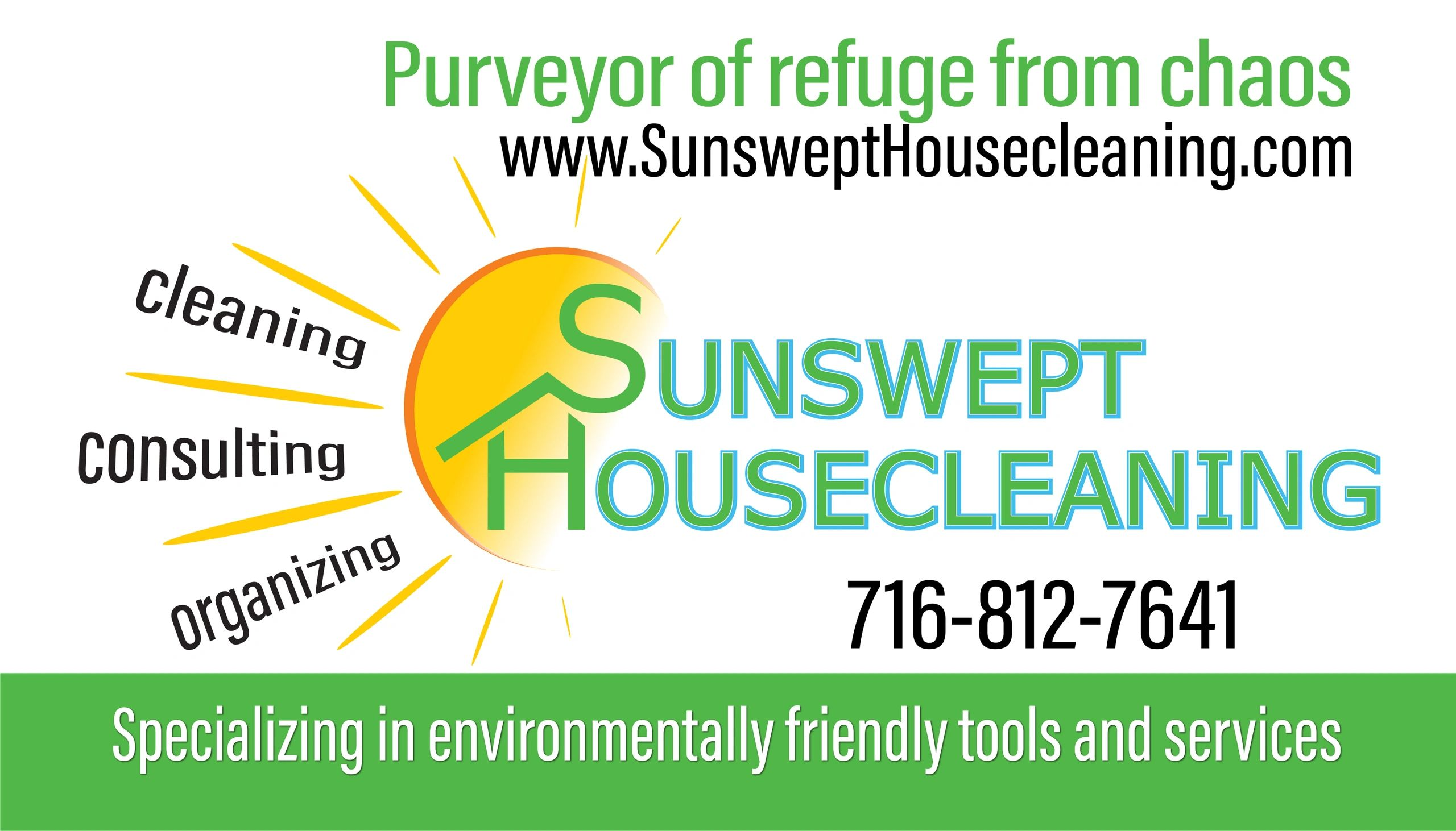 Logo, Description of Services, Contact Info on Business Card for Sunswept Housecleaning