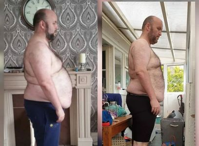 Client pre and post: 1 year, 5 stone lost!