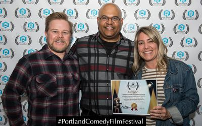 Portland Comedy Film Festival Director Mikel Fair with Goddaughter Rebecca and her husband Matt.