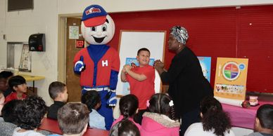 Students hitting a Home Run Against Drugs with Homer and Executive Director, Kemi Pogue!!