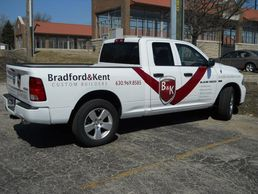 Truck lettering in Downers Grove.