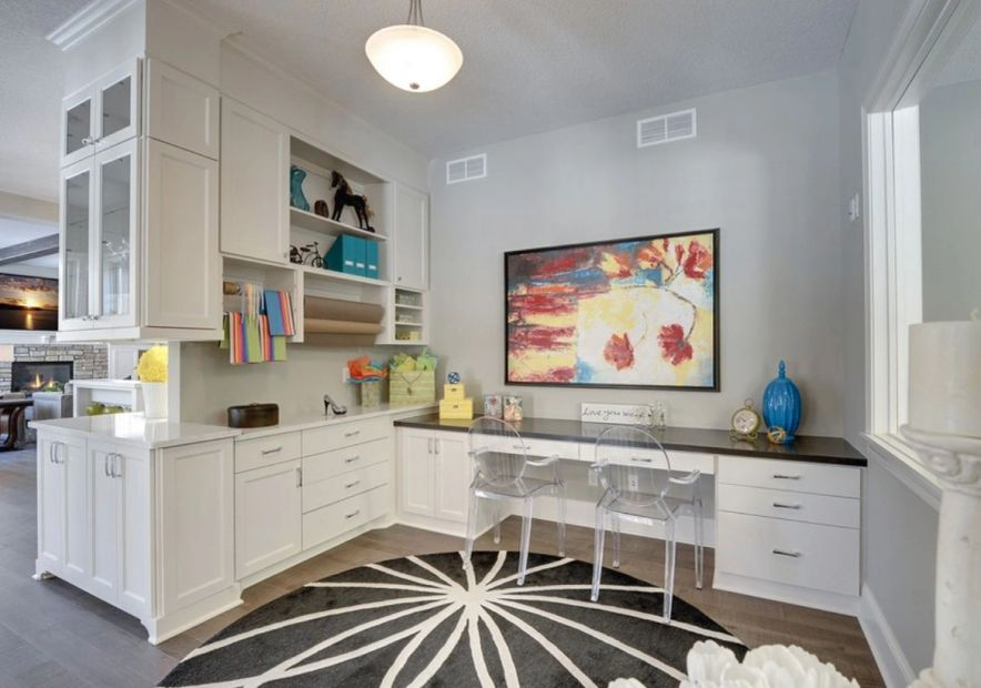 Kitchen remodel whole house remodel custom cabinets gray walls white cabinets wood look floor
