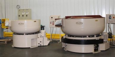 Link to past systems that have previously sold, photo of vibratory finishing bowls