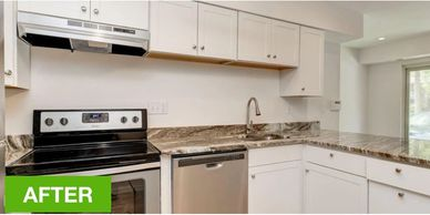 New kitchen cabinets and appliances to improve homeseller value.