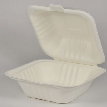 All of our take-out containers and plate are made from Sugarcane Fibre/Bagasse.