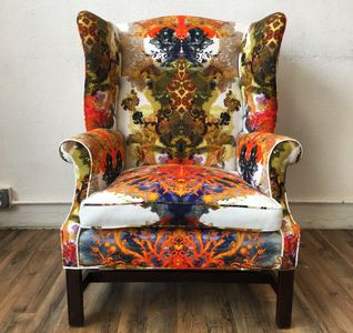 Wingback Arm Chair, Timorous Beasties Textile Fabric Reupholstered, Upholstery, Furniture, Statement