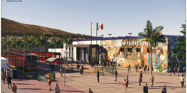 New proposed bus-trolley terminal, dinning and shopping at the san Ysidro pedestrian border crossing