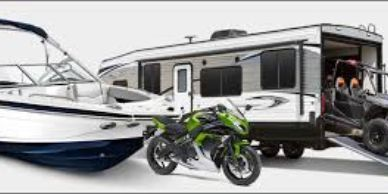 Boat, motorcycle, travel trailer