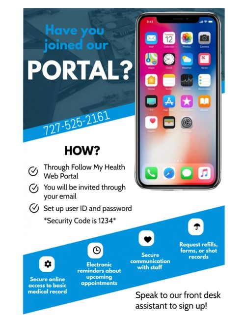 Call 727-525-2161 for help with portal sign up
