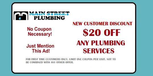 Main Street plumbing Vancouver $20 off coupon vancouver plumbing