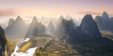 Sunset at one of the vantage points in Guilin