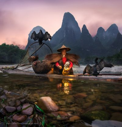 The cormorants and the fisherman in Guilin / Yangshuo by the gorgeous Li River