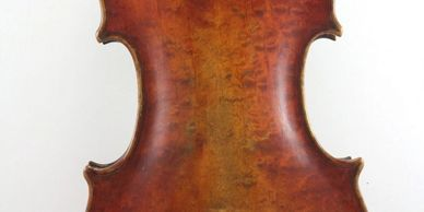 Beautiful birds eye maple on the back of an old Romanian violin.