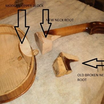 Violin and fiddle setups and repairs.  Photo shows new neck block going in.